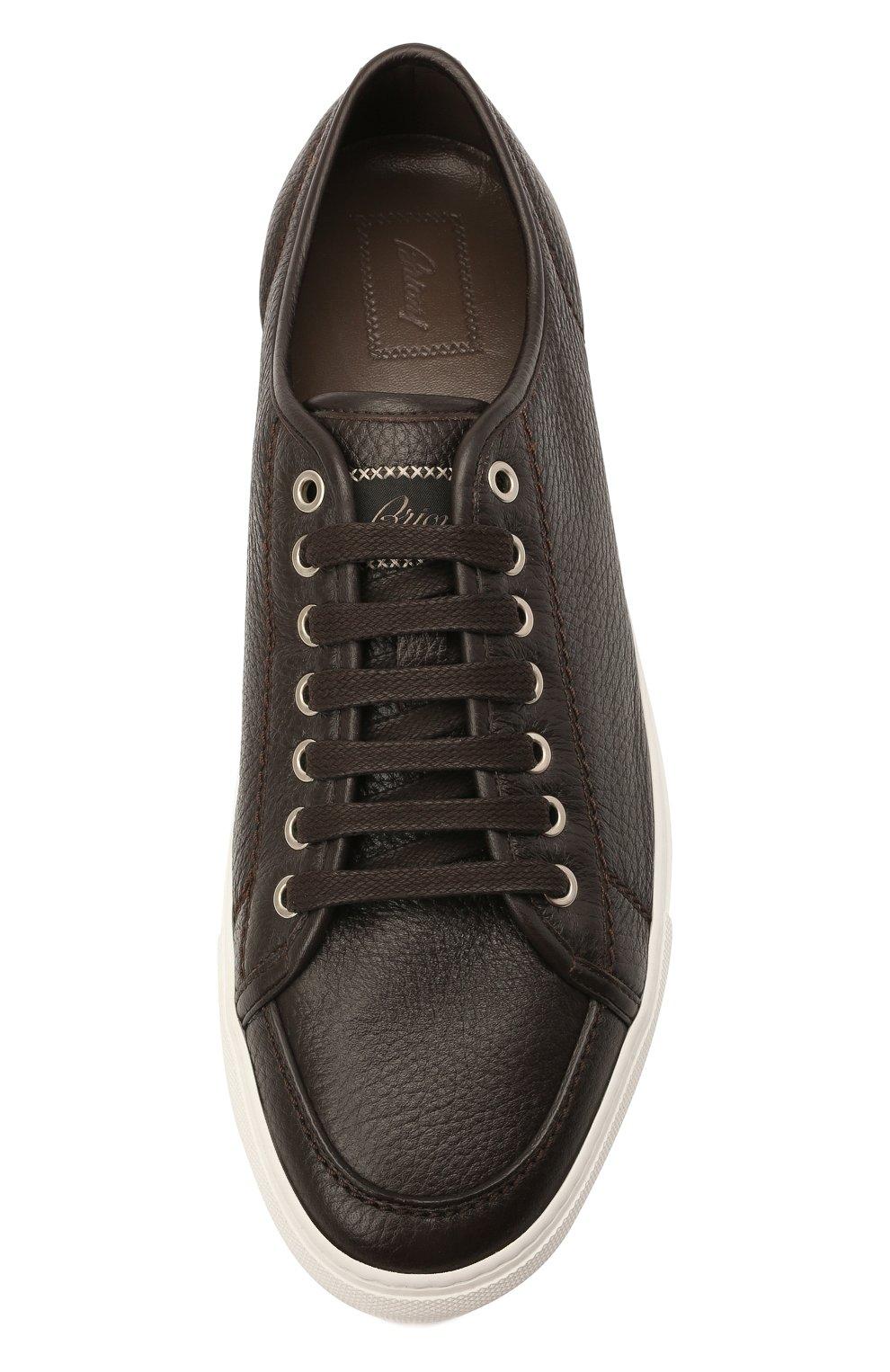 Мужские кожаные кеды BRIONI темно-коричневого цвета, арт. QHH40L/P7731 | Фото 5