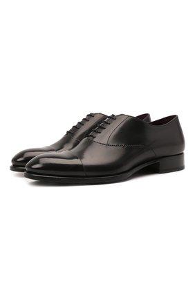 Мужские кожаные оксфорды BRIONI черного цвета, арт. QEH20L/P6757 | Фото 1