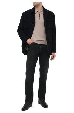 Мужские кожаные оксфорды BRIONI темно-синего цвета, арт. QEG90L/P7731 | Фото 2