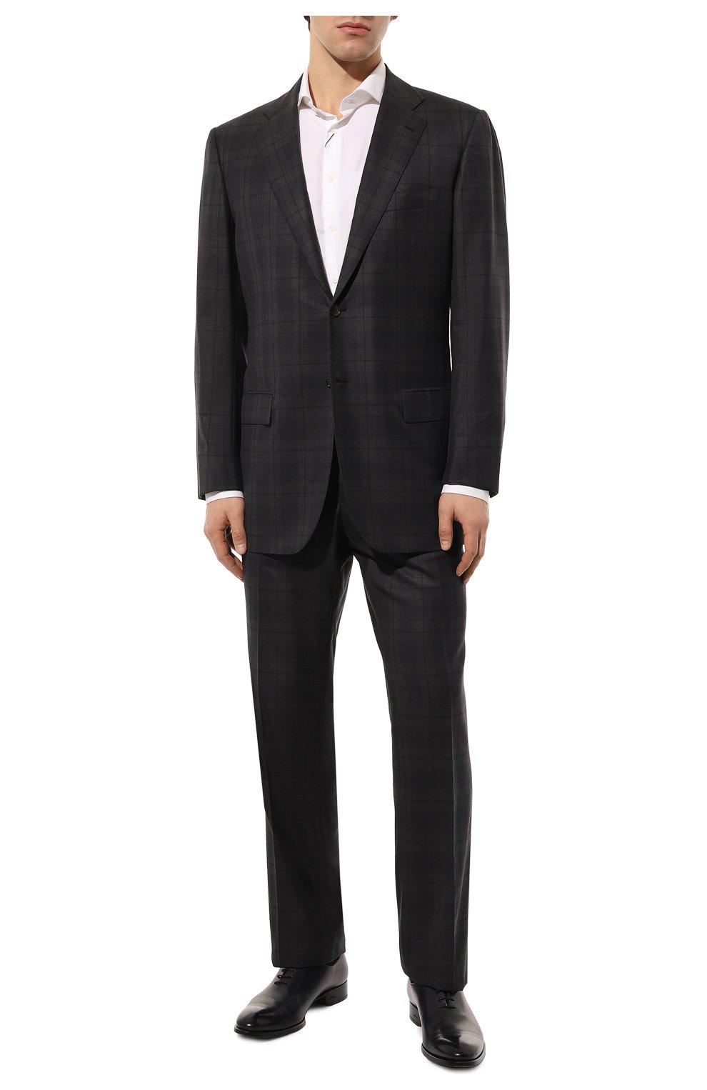 Мужские кожаные оксфорды BRIONI темно-синего цвета, арт. QEF70L/P6757   Фото 2