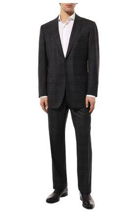 Мужские кожаные оксфорды BRIONI темно-синего цвета, арт. QEF70L/P6757 | Фото 2