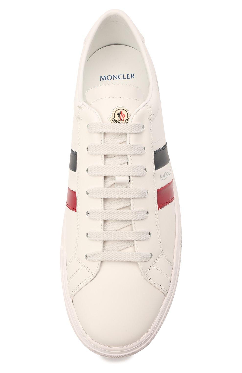 Мужские кожаные кеды new monaco MONCLER белого цвета, арт. G1-09A-4M714-40-01A9A | Фото 5