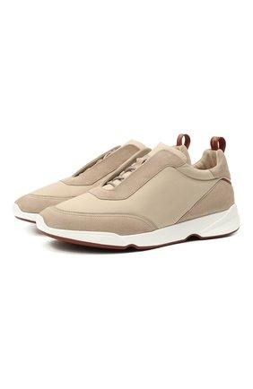 Мужские комбинированные кроссовки modular walk LORO PIANA бежевого цвета, арт. FAL6187 | Фото 1