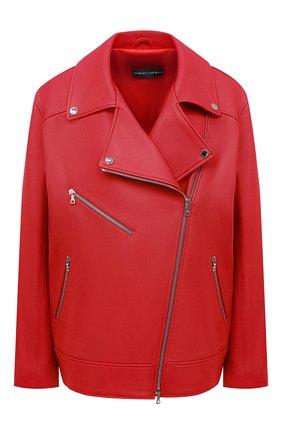 Женская кожаная куртка MASLOV красного цвета, арт. SMW101   Фото 1