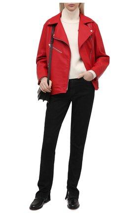 Женская кожаная куртка MASLOV красного цвета, арт. SMW101   Фото 2
