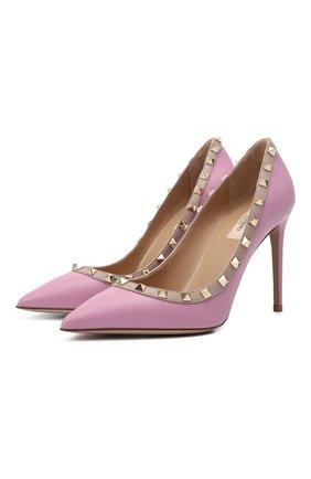 Женские кожаные туфли valentino garavani rockstud VALENTINO сиреневого цвета, арт. VW2S0057/V0D | Фото 1