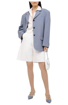 Женские кожаные мюли valentino garavani rockstud VALENTINO голубого цвета, арт. VW2S0V23/V0D | Фото 2