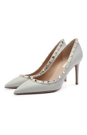 Женские кожаные туфли valentino garavani rockstud VALENTINO светло-серого цвета, арт. VW2S0A04/VCE | Фото 1