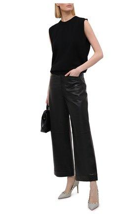 Женские кожаные туфли valentino garavani rockstud VALENTINO светло-серого цвета, арт. VW2S0A04/VCE | Фото 2