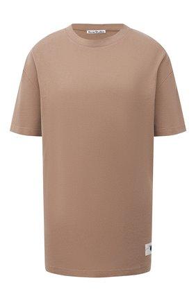 Женская хлопковая футболка ACNE STUDIOS коричневого цвета, арт. AL0199 | Фото 1