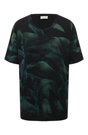 Женская хлопковая футболка SAINT LAURENT темно-зеленого цвета, арт. 648927/Y36CU   Фото 1 (Рукава: Короткие; Принт: С принтом; Женское Кросс-КТ: Футболка-одежда; Длина (для топов): Стандартные; Стили: Спорт-шик; Материал внешний: Хлопок)