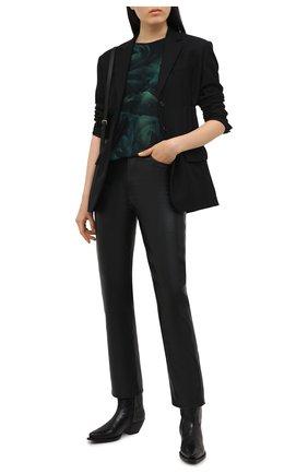 Женская хлопковая футболка SAINT LAURENT темно-зеленого цвета, арт. 648927/Y36CU   Фото 2 (Рукава: Короткие; Принт: С принтом; Женское Кросс-КТ: Футболка-одежда; Длина (для топов): Стандартные; Стили: Спорт-шик; Материал внешний: Хлопок)