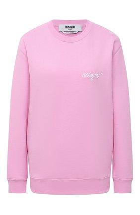 Женский хлопковый свитшот MSGM светло-розового цвета, арт. 3041MDM107 217299 | Фото 1