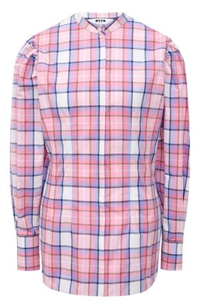 Женская хлопковая рубашка MSGM светло-розового цвета, арт. 3041MDE04A 217005 | Фото 1