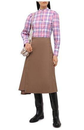 Женская хлопковая рубашка MSGM светло-розового цвета, арт. 3041MDE04A 217005 | Фото 2