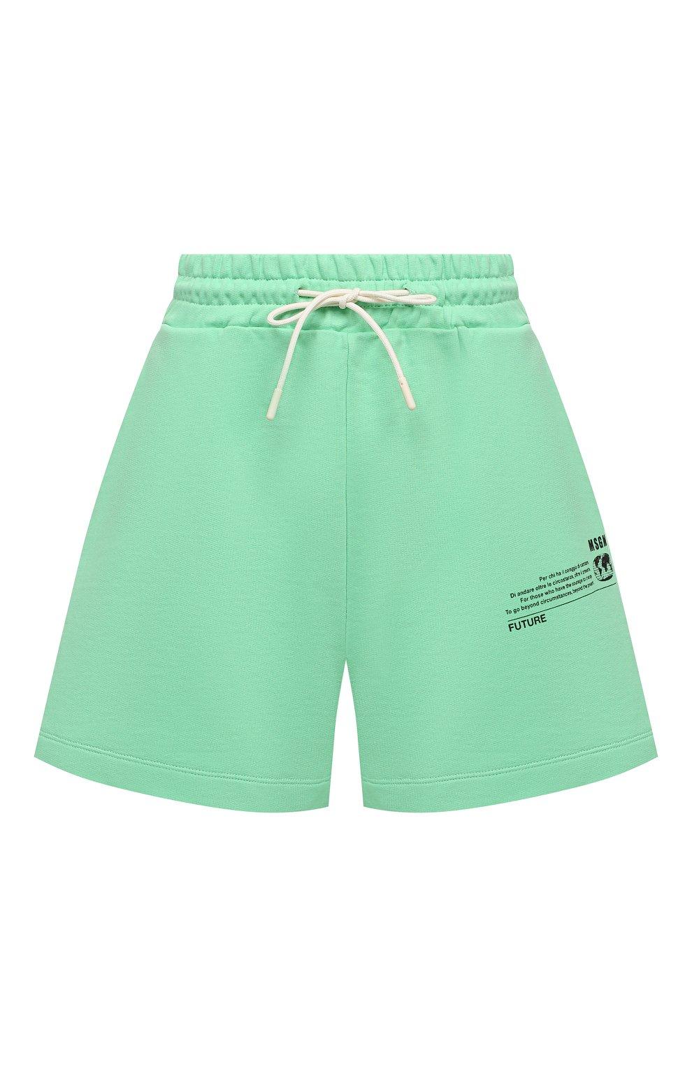 Женские хлопковый шорты MSGM зеленого цвета, арт. 3041MDB90 217119 | Фото 1