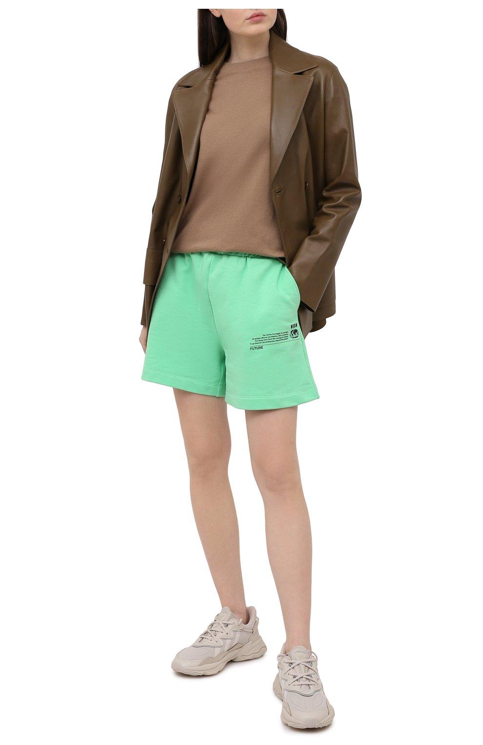 Женские хлопковый шорты MSGM зеленого цвета, арт. 3041MDB90 217119 | Фото 2