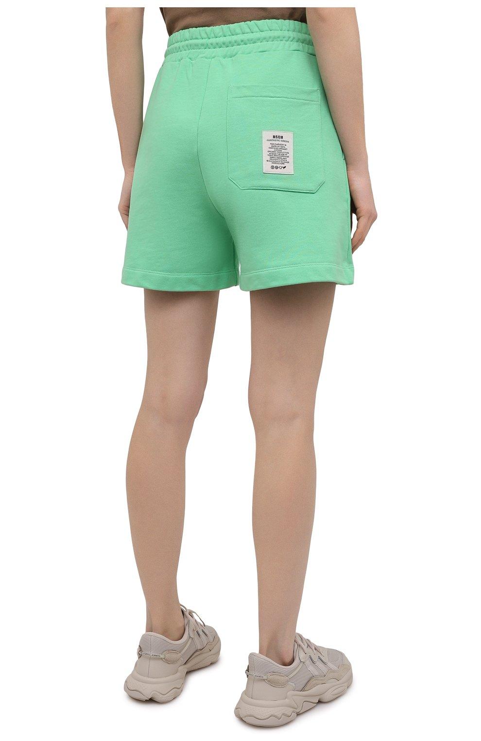 Женские хлопковый шорты MSGM зеленого цвета, арт. 3041MDB90 217119 | Фото 4