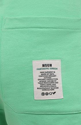 Женские хлопковый шорты MSGM зеленого цвета, арт. 3041MDB90 217119 | Фото 5