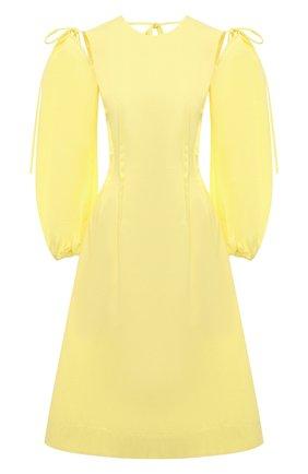 Женское хлопковое платье MSGM желтого цвета, арт. 3041MDA25 217109 | Фото 1
