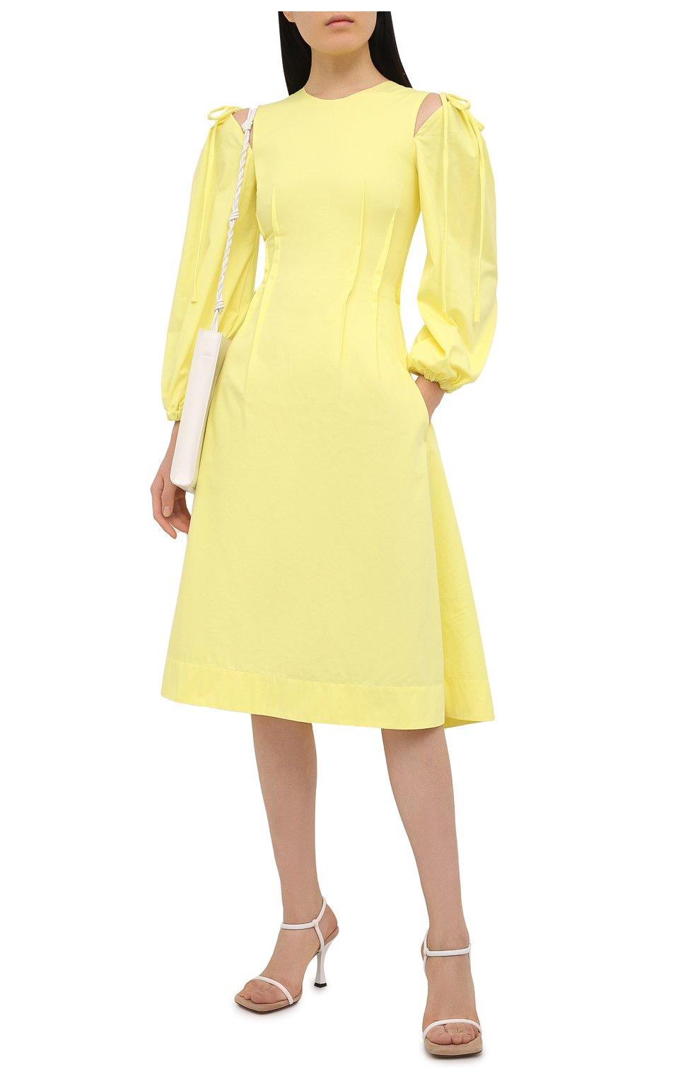 Женское хлопковое платье MSGM желтого цвета, арт. 3041MDA25 217109 | Фото 2