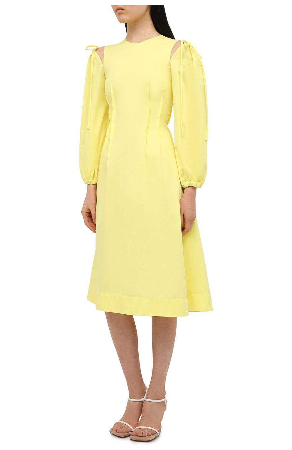 Женское хлопковое платье MSGM желтого цвета, арт. 3041MDA25 217109 | Фото 3