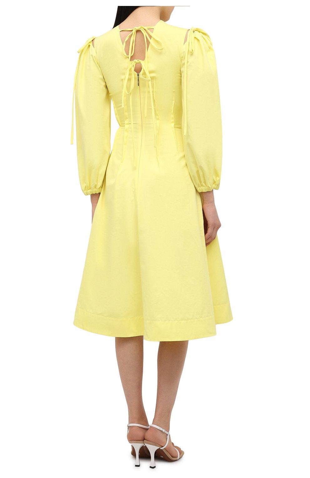 Женское хлопковое платье MSGM желтого цвета, арт. 3041MDA25 217109 | Фото 4