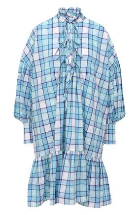 Женское хлопковое платье MSGM голубого цвета, арт. 3041MDA19A 217005   Фото 1