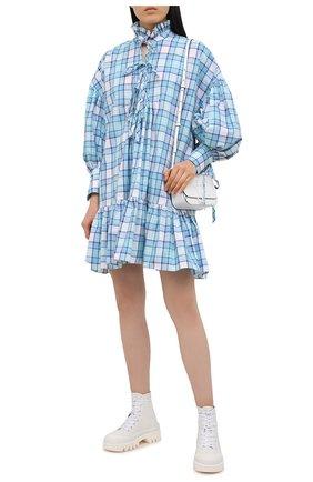 Женское хлопковое платье MSGM голубого цвета, арт. 3041MDA19A 217005   Фото 2