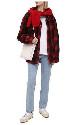 Женская хлопковая футболка SUBTERRANEI белого цвета, арт. P21SUB06   Фото 2