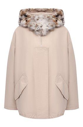 Женская куртка с меховой отделкой COLOR TEMPERATURE бежевого цвета, арт. Т,К-18/385 | Фото 1