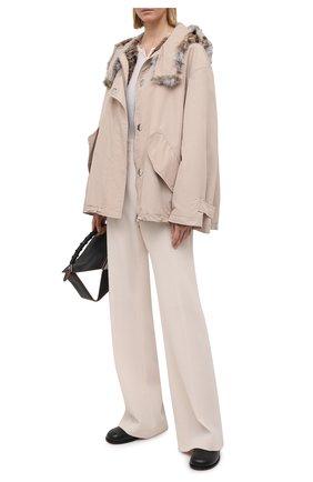 Женская куртка с меховой отделкой COLOR TEMPERATURE бежевого цвета, арт. Т,К-18/385 | Фото 2