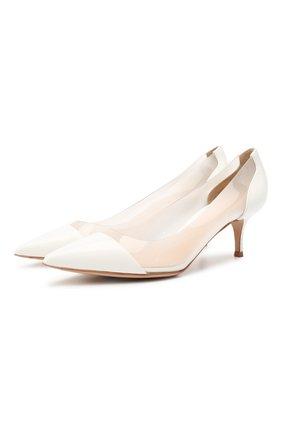 Женские комбинированные туфли GIANVITO ROSSI белого цвета, арт. G21481.55RIC.VGLBIBI   Фото 1 (Подошва: Плоская; Материал внутренний: Натуральная кожа; Материал внешний: Экокожа; Каблук высота: Низкий; Каблук тип: Шпилька)