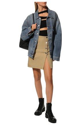Женские кожаные ботинки KENZO черного цвета, арт. FA62BT340L62 | Фото 2