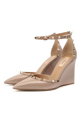 Женские кожаные туфли rockstud VALENTINO бежевого цвета, арт. VW2S0AZ0/VNW   Фото 1