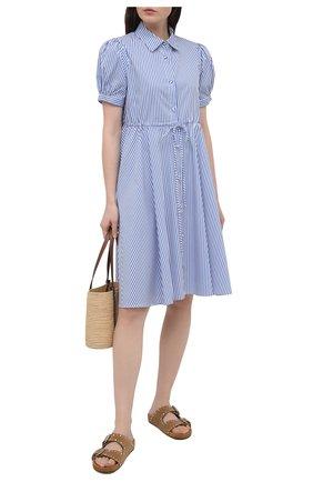 Женское хлопковое платье PIETRO BRUNELLI синего цвета, арт. AG0459/C0DAYT/8010 | Фото 2
