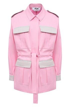 Женская хлопковая куртка MSGM светло-розового цвета, арт. 3041MDH01Y 217105 | Фото 1