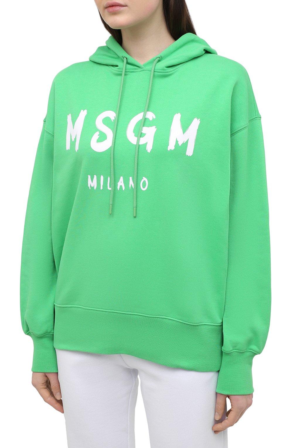 Женский хлопковое худи MSGM зеленого цвета, арт. 3041MDM88 217299 | Фото 3