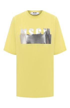 Женская хлопковая футболка MSGM желтого цвета, арт. 3041MDM180 217298   Фото 1