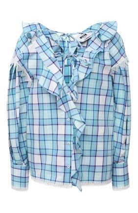 Женская хлопковая блузка MSGM голубого цвета, арт. 3041MDM17 217005   Фото 1
