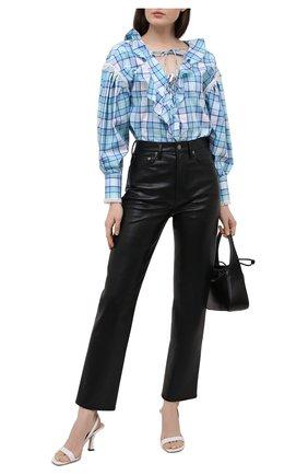 Женская хлопковая блузка MSGM голубого цвета, арт. 3041MDM17 217005   Фото 2