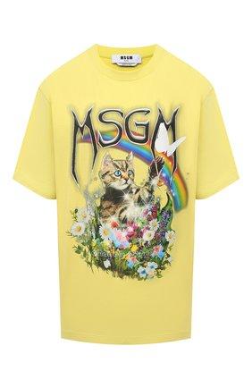 Женская хлопковая футболка MSGM желтого цвета, арт. 3041MDM164 217298   Фото 1