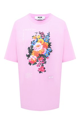 Женская хлопковая футболка MSGM светло-розового цвета, арт. 3041MDM161 217298 | Фото 1
