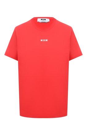 Женская хлопковая футболка MSGM красного цвета, арт. 3041MDM100 217298 | Фото 1