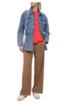 Женская хлопковая футболка MSGM красного цвета, арт. 3041MDM100 217298 | Фото 2