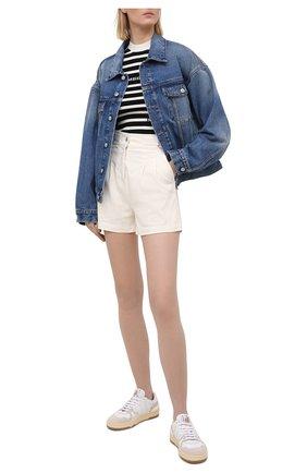 Женские джинсовые шорты MSGM белого цвета, арт. 3041MDB42T 217279   Фото 2