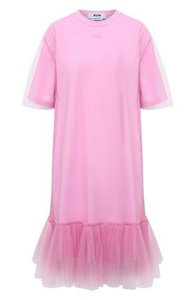 Женское хлопковое платье MSGM светло-розового цвета, арт. 3041MDA66 217298 | Фото 1