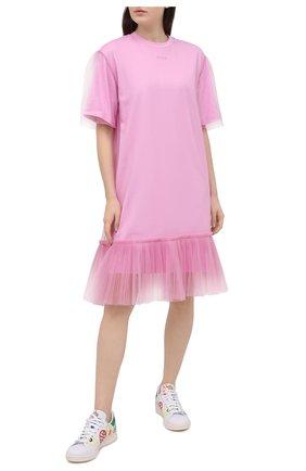 Женское хлопковое платье MSGM светло-розового цвета, арт. 3041MDA66 217298 | Фото 2