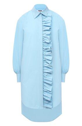 Женское хлопковое платье MSGM голубого цвета, арт. 3041MDA02 217104   Фото 1