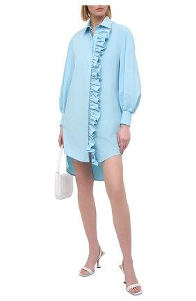 Женское хлопковое платье MSGM голубого цвета, арт. 3041MDA02 217104   Фото 2